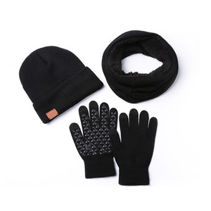 2020 Winter Men's Hat Scarf Gloves Set Women Unisex Knitted Velvet Thick Beanie Warm Ski Hats Snoop Fashion Cap For Men F1208
