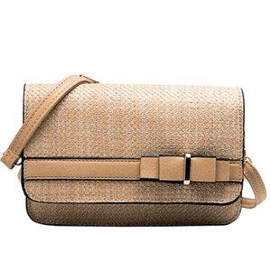 Women Crossbody Bowknot Small Square Messenger Bag Bohemia Handbags Hand Weave Straw Shoulder Bags Rattan Retro Beach Purse