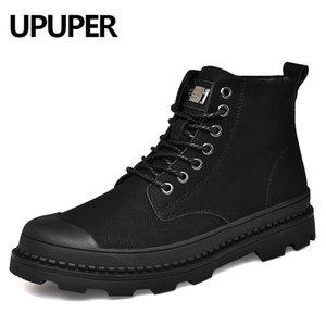 Upuper Black Натуральная кожаная лодыжка зимняя обувь меховой снег военные ботинки для мужчин Botas 201127