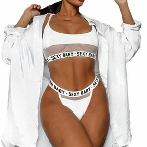 Fashion Hollow Out Lingerie Set Sexy Baby Letter Slips Lady Home Bra culotte Transparents InS Style Gilet Streilleurs