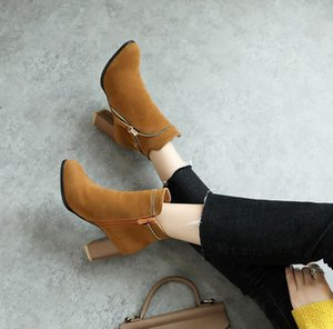 High Quality Women Ankle Boot Fashion Leather High Heels Ladies Shoes Short Boots Woman Shoes Zapatos De Mujer black