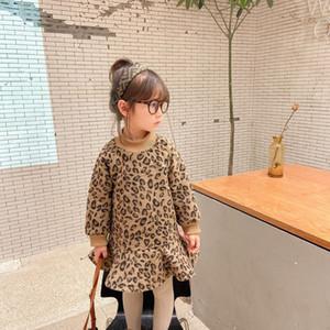 INS Girls Leopard Dress Winter New Children Fleece Long Sleeve Falbala Dress Kids Thicken Warm Dress A4810
