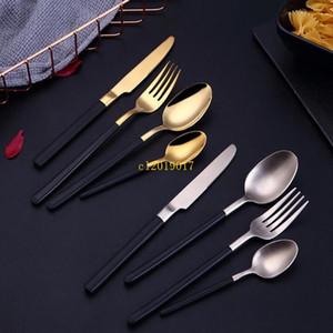 Frete grátis 304 inoxidável faca de aço e forquilha Colher Gold mudo Luz Hotel West Louça Steak Faca E Forquilha