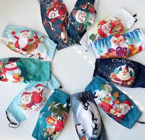 2021 Moda nueva navidad impresa máscaras de algodón de invierno caliente polvo a prueba de polvo máscara de cara máscara lavable paño