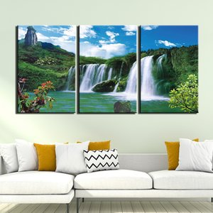 3 Panel Canvas Painting Home Art Waterfall Scenery Poster And Print Wall Art Picture Home Decor Canvas Painting