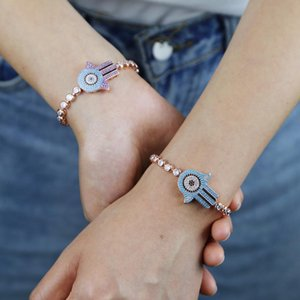 New Rose Gold Color Blue Purple CZ paved Turquoises Stone Adjust Tennis chain bracelet for women Lucky Hamsa Hand Bracelet Wholesale