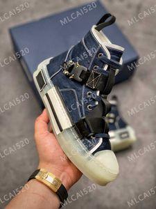 Denim B23 B24 Botón oblicuo Metal Función High Top Obliques Impresión Técnica de cuero 19SS Sneakers Técnicos Zapatos Casuales Clásicos