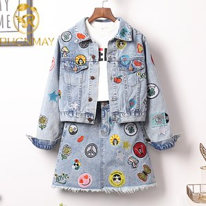 New Large Size Embroidery Epaulet Denim Jacket Coat + Mini Jean Skirt Outfits Fashion Women Suit Office Two Piece Set S-5XL 201012