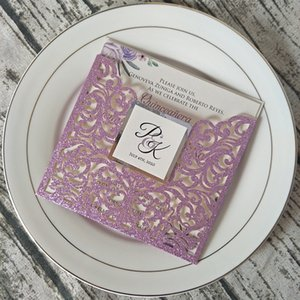 Purple Glitter Laser Cut Wedding Invitation with Ivory Silver Tag DIY Personalized Print Anos Party Cards Sweet Fifteen Invites