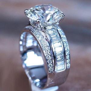2020 NUEVA LLEGADA DE LUJO DE LUJO 925 Sterling Silver Anillo de compromiso para mujeres Dama Aniversario Regalo Joyas al por mayor Moonso R5512