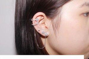 925 Sterling Silver Fashion personality Zircon Ear Clip Single Tassel Earrings Cuff women and girls caught in the ear ear cuffs jewelry