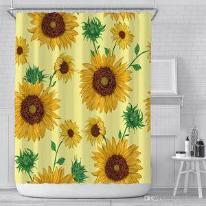 Hot Sale Fashion Creative Sunflower Bath Shower Curtain Waterproof Bathroom Curtain Home Decoration For Bathroom Decoration