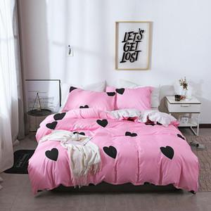 Literie 2 3 Pcs couette Sweet Heart Pillowcases Stripe cellule Nordic style Linge de lit US AU UE Plein lits jumeaux Reine