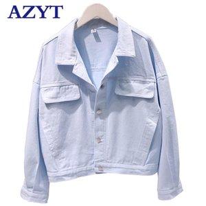 AZYT 2020 New Solid Slim Short Denim Female Jacket korean Loose Bat Sleeve Basic Coat Casual Fashion Denim Jacket For Women