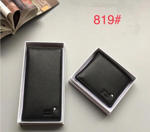 819 Fashion Trend Suit Clip Real Leather Long Wallets Chain Wallet Pouches Key Card Holders Phone Cases