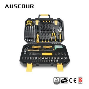 127pcs Hand Tool Set Repair Household Tool Set Hand Kit with Plastic Toolbox Storage Case Socket Wrench Screwdriver Knife