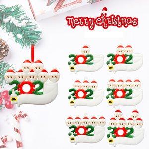 Presente Xmas Feliz Natal Ornamentos DIY Greetings Quarentena sobrevivente Memorial Decoração Snowman usar máscara da árvore de Natal Pendant