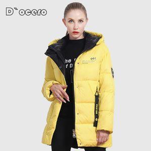 D`ocero novo jaqueta de inverno mulheres plus size cores brilhantes casaco mulheres com capuz espessas biológica jaqueta biológica parka outwear 201027