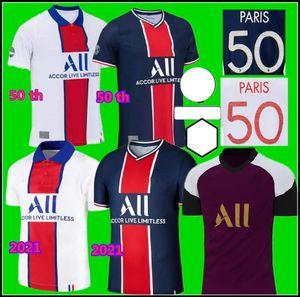 20 21 21 Paris Soccer Jersey 50-летие Детский Кит 2020 2021 MBAPPE ICARDI Рубашка 10 Cavani Di Maria Men Детская футбольная футболка Hommes Enfants