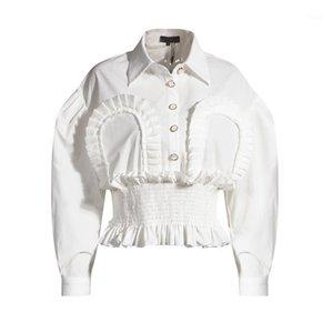 MSXU Fashion Chic Giro giù Collar Tunica Tunica Frill Pieghettata Casual Office Donne Camicetta Camicetta