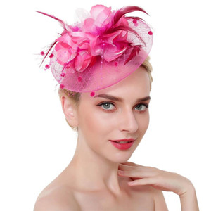Women Party Feathers Flower Headwear Fascinator Hat Wedding Cocktail Mesh With Clip Headband Bridal Hair Accessories