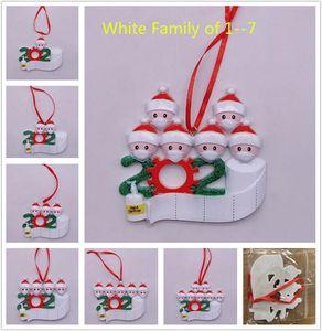 FedEx 2020 Quarantäne-Weihnachts-Ornament Weiße Familie von 1-7 Dekoration DIY-Namensname Hard Harz Weihnachtsbaum Dekore Pandemie Soziale Distanzierung