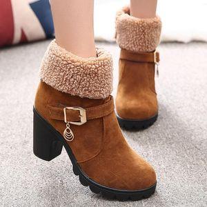 2020 Winter High Heel Boots Platform Warm Plush Square Heels Winter Shoes Women's Boots Ladies Fashion Brand Ankle Snow