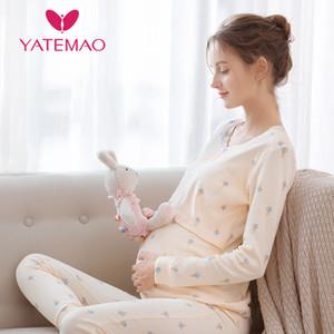 YATEMAO per allattamento Top gravidanza le donne vestiti di maternità vestiti allattamento al seno Top manica lunga Senza Pant 1015