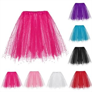2020 New Fashion Womens Dancing Skirt 3 Layered Short Adult Tutu Skirt Paillette Elastic Solid Casual High Waist Jupe Femme