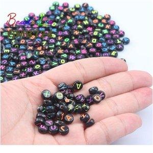 4x7mm Carta de mezcla con cuentas acrílicas Redondo Alfabeto plano Digital Spacer Spacer Beads para joyería Hacer bricolaje Collar de pulsera W QyltPo
