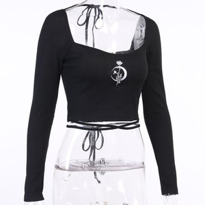 European and American street BF style slim belly button long sleeve shirt Ins versatile tie with rose moon embroidery T-shirt