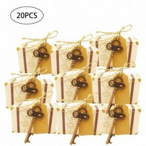 20 stücke Koffer Candy Boxes Schlüsselförmige Flaschenöffner Handwerk Papier Candy Box Set mit Zeichen Tag Hochzeit Party Favor Geschenke CFCU #
