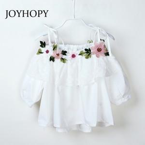 Joyhopy أطفال بنات بلوزة قمصان زهرة تصميم ملابس الأطفال لفتاة أعلى الملابس الربيع الصيف Y200704