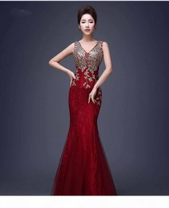 Sexy Backless Red Mermaid Lace Evening Dress Lace Mermaid Long Appliques Evening Gowns Vestido de Festa