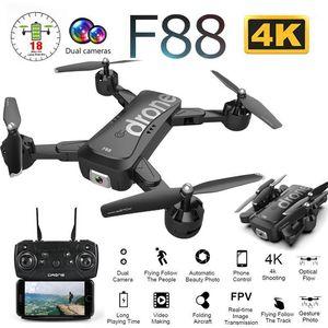 F88 Drone de perfección plegable con 4K HD DUAL CÁMARA WIFI FPV FPV Flow óptico de gran angular RC Helicóptero Quadrocopter Toy XS816 E581