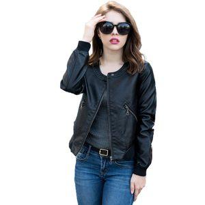 Ailegogo Herbst Winter Frauen Faux Lederjacke Weiche PU Leder Outwear Plus Größe Biker Mantel Kurz Design Schwarze Jacke