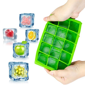 NEW 15 Grids DIY Big Ice Cube Mold Square Shape Silicone Ice Tray Fruit Ice Cream Maker