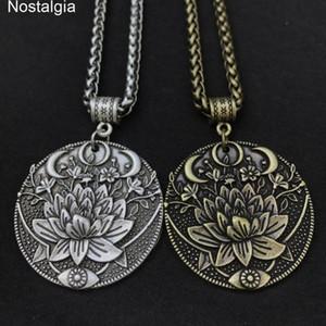 Jóias espirituais karma buddha wiccan lotus flor wicca moon colar homens mulheres acessórios bruxa bruxa jewlery