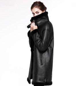 2020 Piel de doble cara ropa exterior Chaqueta de invierno Mujeres Larga Parka Cuero genuino Merino Ovejas de piel de pie de piel real Capucha Streetwear New1