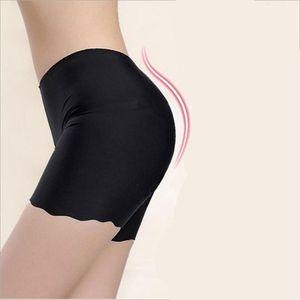 2020 Hot Selling Female Sexy Women High Waist Ice Silk Briefs Seamless Elastic Pants Short Leggings White Black Skin