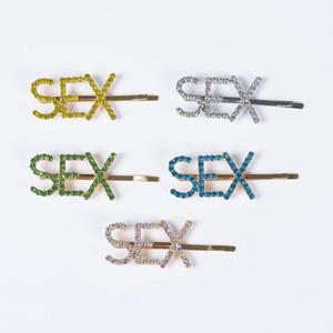 Lleve de cristal de lujo Sexo Horquillas para mujer Accesorios para el cabello de la boda Rhinestone Clips de pelo Moda Pesas Pasas Niñas Parrettes