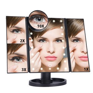 LED Touch Screen 22 Light Hollywood Makeup Mirror Table Deskto 1X 2X 3X 10X Magnifying Mirrors Vanity 3 Folding Adjustable Mirror CE Rohs UL
