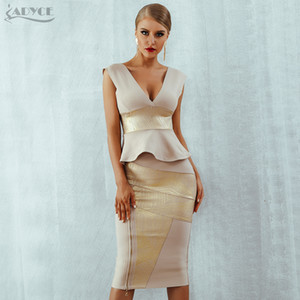 Adyce Ruffles Celebrity Party Dress 2020 New Summer Women Bodycon Set Sleeveless V-Neck Front Zipper Bandage Dress Women Vestido A1105
