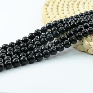 Doğal Siyah Oniks Obsidian Taş Boncuk Yarı Değerli Taş 06/04 / 8 / 10mm Full Strand 15 İnç L0096 #