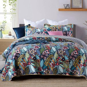 CHAUSUB Cotton Bedspread on Bed Quilt Set 3pcs Flower Print Quilts Bed Cover Pillowcase King Queen Size Coverlet Quilted Blanket