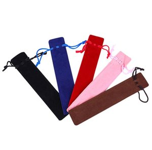 Creative Design Plush Velvet Pen Pouch Holder Pencil Case With Rope Office School Writing Supplies bag Student Christmas Gift bags