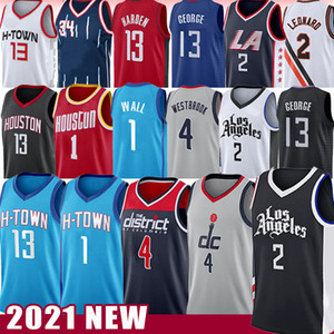 Kawhi 2 John 1 Wall Leonard Russell 4 Westbrook Basketball Jersey 2021 Paul 13 조지 Harden Hakeem 34 Olajuwon Retro Los 2021 Angeles New