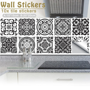 10Pcs lot 15x15cm Vintage Square Self Adhesive Tile Stickers Moroccan Style Self Adhesive PVC Home Decor Kitchen Furniture Decal