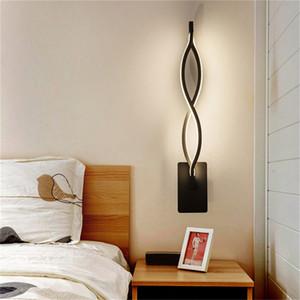 Lámparas LED de pared modernas, minimalistas, negras, iluminación de noche para dormitorio, candelabro LED de 16W, lámpara blanca cálida frí