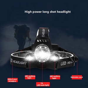 3 heads Explosive night fishing fishing rechargeable headlight high-power strong light LED outdoor waterproof head-mounted flashlight